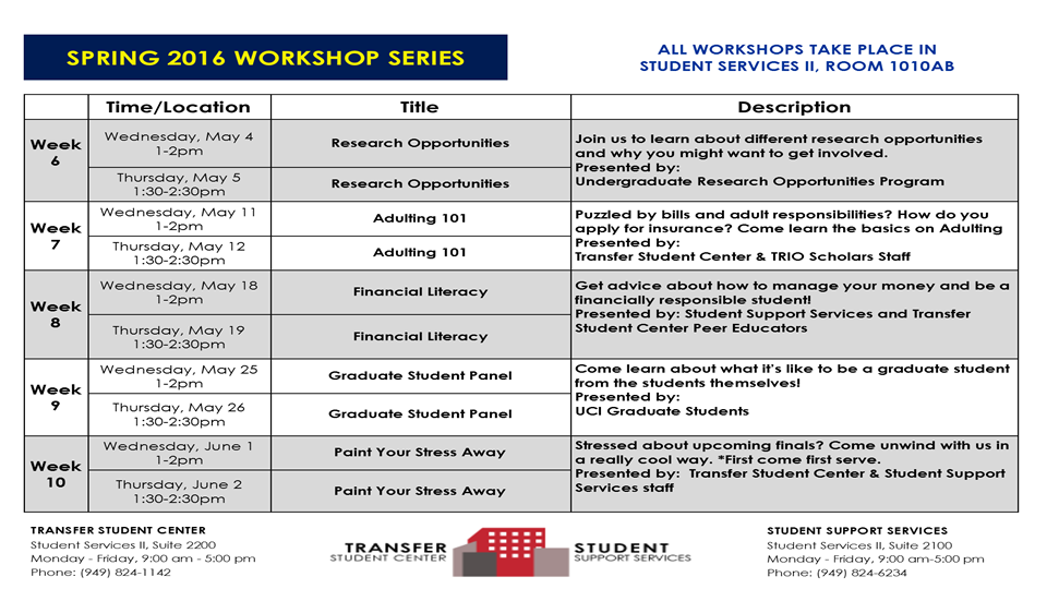 Attend one of our many workshops this quarter!